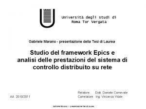 Universit degli studi di Roma Tor Vergata Gabriele