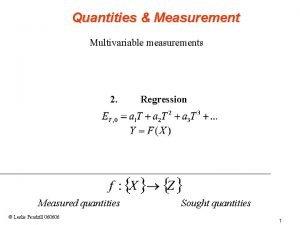 Quantities Measurement Multivariable measurements 2 Measured quantities Leslie