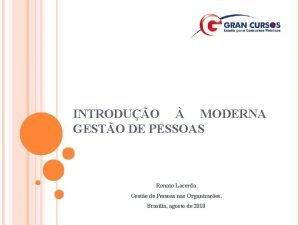 INTRODUO MODERNA GESTO DE PESSOAS Renato Lacerda Gesto