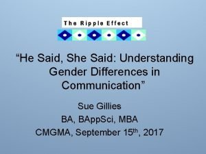 He Said She Said Understanding Gender Differences in