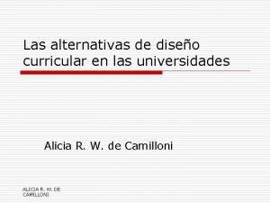 Las alternativas de diseo curricular en las universidades