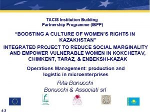 TACIS Institution Building Partnership Programme IBPP BOOSTING A