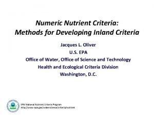 Numeric Nutrient Criteria Methods for Developing Inland Criteria
