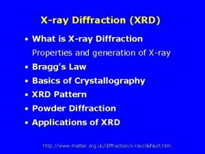 Xray Diffraction XRD What is Xray Diffraction Properties