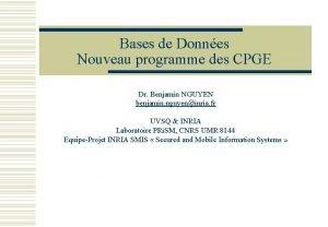 Bases de Donnes Nouveau programme des CPGE Dr