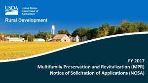 FY 2017 Multifamily Preservation and Revitalization MPR Notice