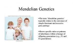 Mendelian Genetics The term Mendelian genetics typically relates