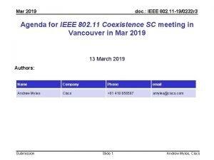 Mar 2019 doc IEEE 802 11 190232 r