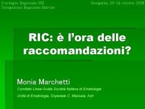 Convegno Regionale SIE Delegazione Regionale Marche Senigallia 23