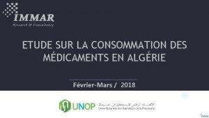ETUDE SUR LA CONSOMMATION DES MDICAMENTS EN ALGRIE