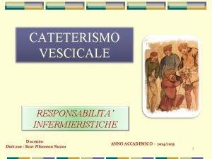 CATETERISMO VESCICALE RESPONSABILITA INFERMIERISTICHE Docente Dott ssa Suor