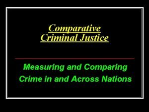 Comparative Criminal Justice Measuring and Comparing Crime in