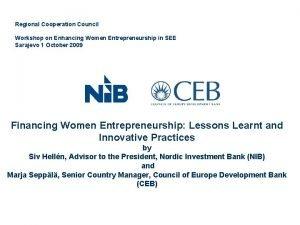 Regional Cooperation Council Workshop on Enhancing Women Entrepreneurship