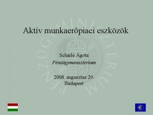 Aktv munkaerpiaci eszkzk Scharle gota Pnzgyminisztrium 2008 augusztus