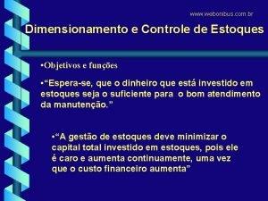 www webonibus com br Dimensionamento e Controle de