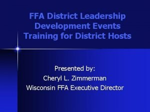 FFA District Leadership Development Events Training for District