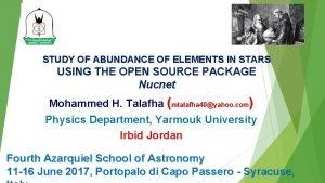 STUDY OF ABUNDANCE OF ELEMENTS IN STARS USING