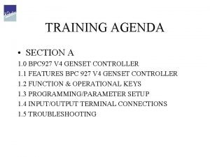 TRAINING AGENDA SECTION A 1 0 BPC 927