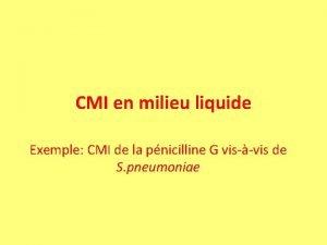 CMI en milieu liquide Exemple CMI de la