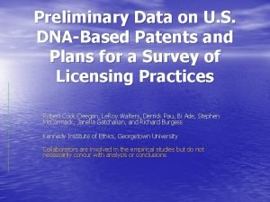 Preliminary Data on U S DNABased Patents and