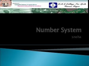 Number System sneha Topics to be discussed Number
