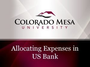 Allocating Expenses in US Bank Reallocating Expenses in