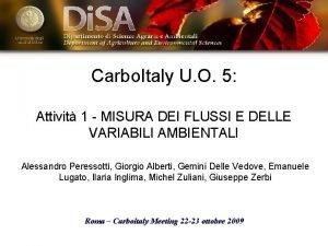 Carbo Italy U O 5 Attivit 1 MISURA