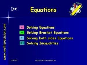 www mathsrevision com Equations Solving Bracket Equations Solving