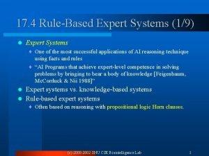 17 4 RuleBased Expert Systems 19 l Expert