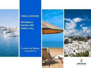 CONCLUSIONES del balance turstico del verano 2014 Provincia