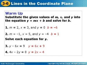 3 6 Lines in the Coordinate Plane Warm