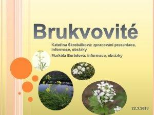 Kateina kroblkov zpracovn prezentace informace obrzky Markta Bortelov