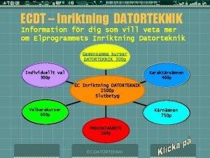 ECDT Inriktning DATORTEKNIK Information fr dig som vill