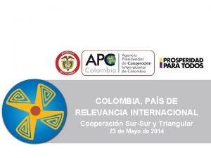 COLOMBIA PAS DE RELEVANCIA INTERNACIONAL Cooperacin SurSur y