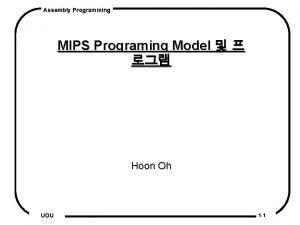 Assembly Programming MIPS Programing Model Hoon Oh UOU