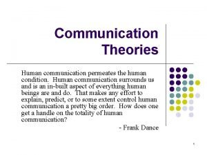 Communication Theories Human communication permeates the human condition