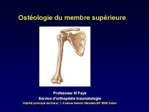 Ostologie du membre suprieure Professeur M Faye Service