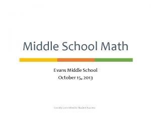 Middle School Math Evans Middle School October 15