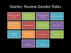 Starter Review Gender Roles Joint Conjugal Roles Separate