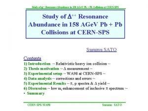 Study of D Resonance Abundance in 158 AGe