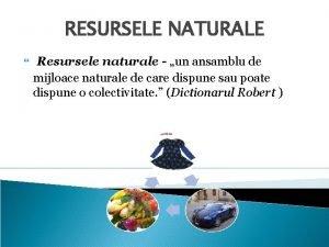 RESURSELE NATURALE Resursele naturale un ansamblu de mijloace