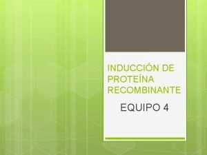 INDUCCIN DE PROTENA RECOMBINANTE EQUIPO 4 Recombinacin Gentica
