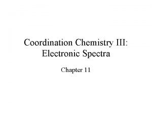 Coordination Chemistry III Electronic Spectra Chapter 11 Coordination