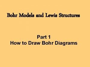 Bohr Models and Lewis Structures Part 1 How