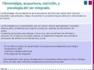 Fibromialgia acupuntura nutricin y Mes 1 y 2