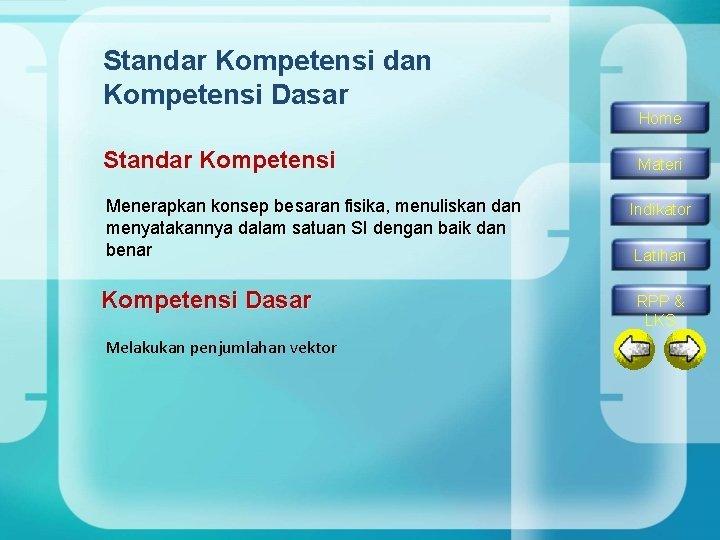 Standar Kompetensi dan Kompetensi Dasar Standar Kompetensi Menerapkan