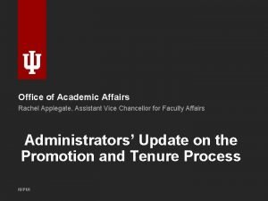 Office of Academic Affairs Rachel Applegate Assistant Vice