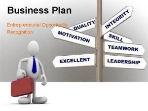 Business Plan Entrepreneurial Opportunity Recognition Entrepreneurial Opportunity Recognition