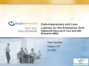 DataAwareness and Low Latency on the Enterprise Grid
