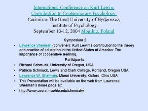 International Conference on Kurt Lewin Contribution to Contemporary